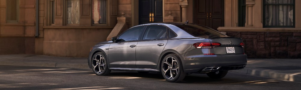Profile view of 2020 VW Passat parked in neighborhood