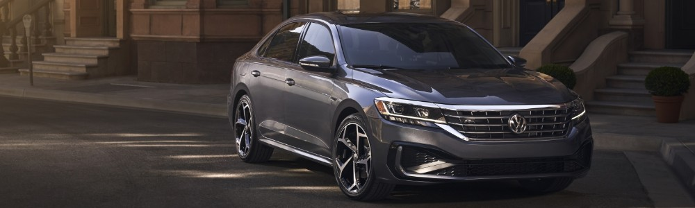 Front view of 2020 VW Passat parked on city street