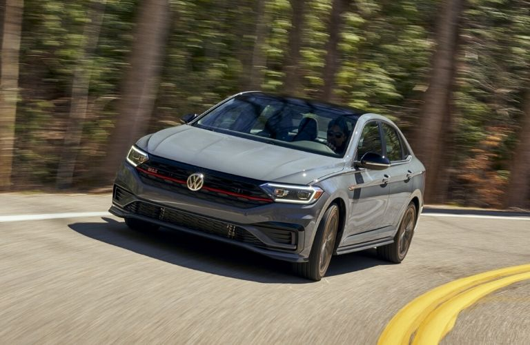 Exterior view of the front of a gray 2020 Volkswagen Jetta GLI