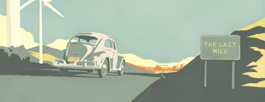 Old-style image of the Volkswagen Beetle heading toward its Last Mile