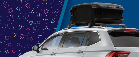 Accessory Rebate Special showing a roof cargo accessory on a Volkswagen vehicle
