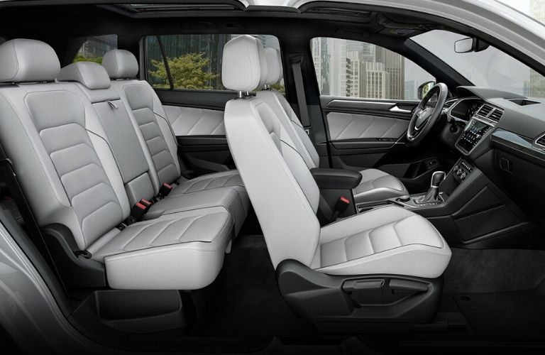 Interior view of the second row of seating inside a 2020 Volkswagen Tiguan