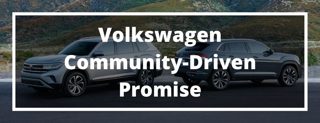 Volkswagen Community-Driven Promise banner with VW models in the background