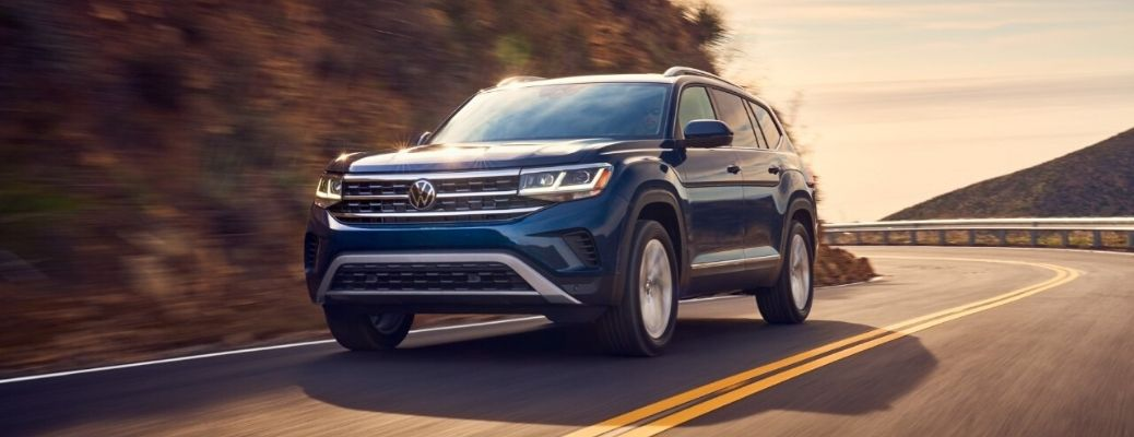 Exterior view of a blue 2021 Volkswagen Atlas