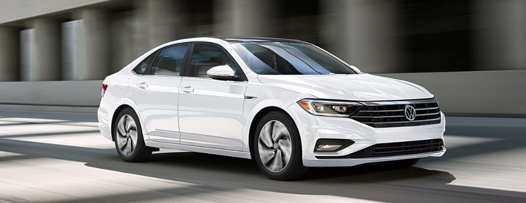 Exterior view of the front of a white 2020 Volkswagen Jetta