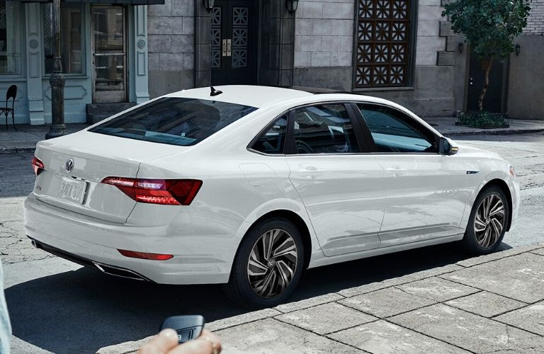 Exterior view of the rear of a white 2020 Volkswagen Jetta