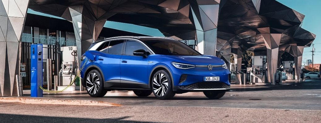 Exterior view of a blue 2021 Volkswagen ID.4