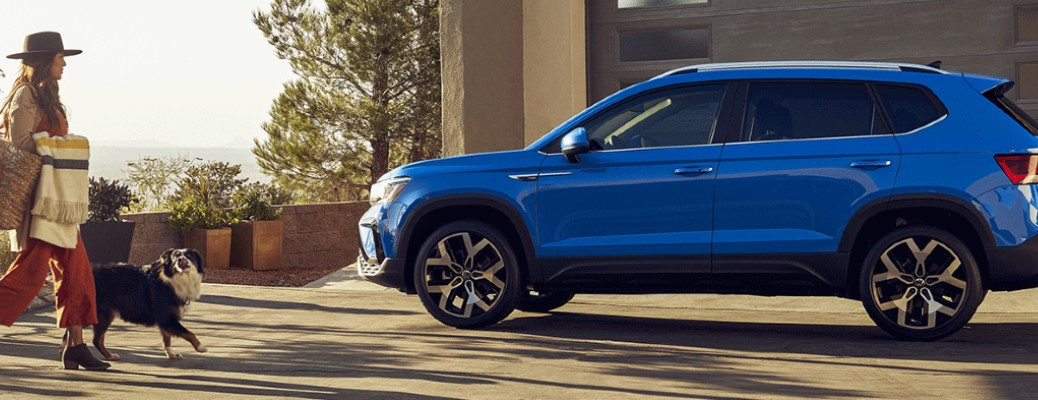 A blue-colored 2022 Volkswagen Taos