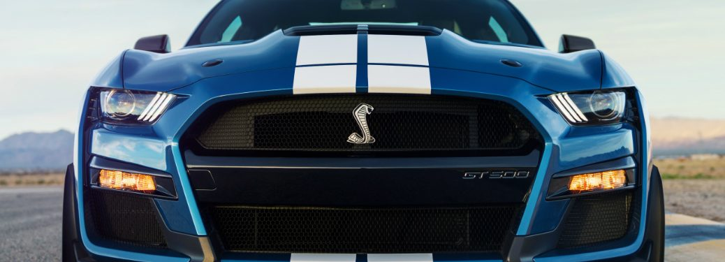 Close-up view of the front of a blue 2020 Ford Mustang Shelby GT500