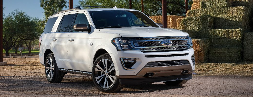 Front view of white 2020 Ford Expedition King Ranch