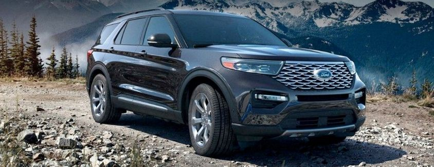 Exterior view of a black 2020 Ford Explorer