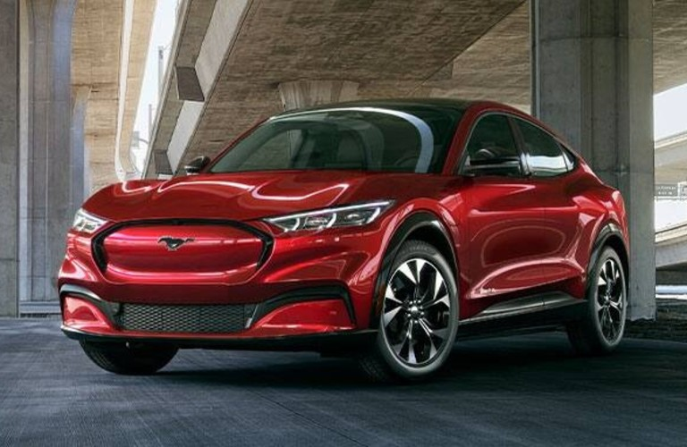 Exterior view of the front of a red 2021 Ford Mustang Mach-E