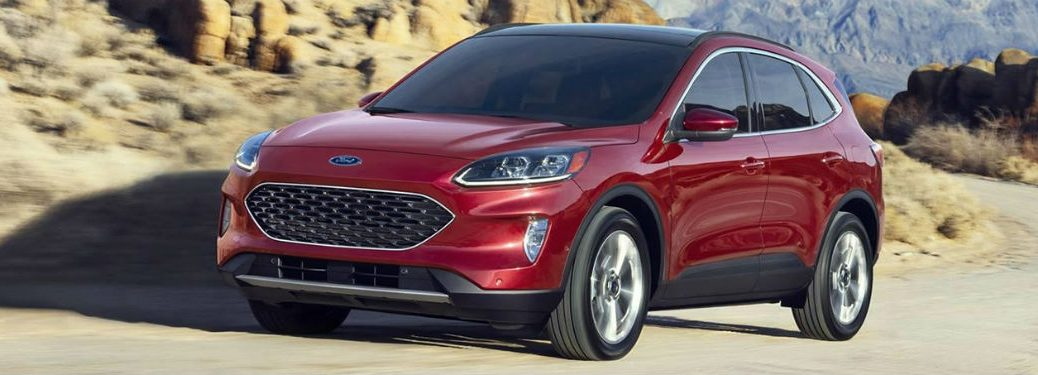 2020 Ford Escape exterior front fasica driver side on winding mountainside road