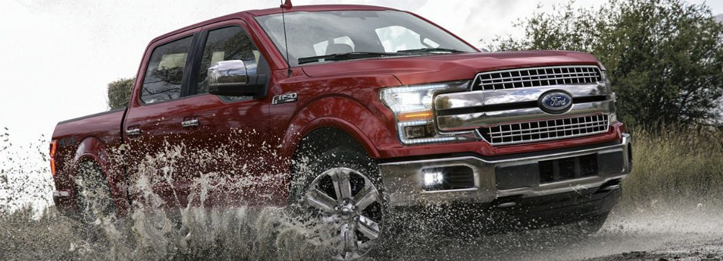 2020 Ford F-150 exterior front fascia passenger side splashing up muddy water