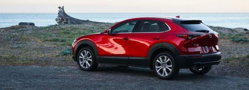 Red 2021 Mazda CX-30 Rear Exterior at the Beach