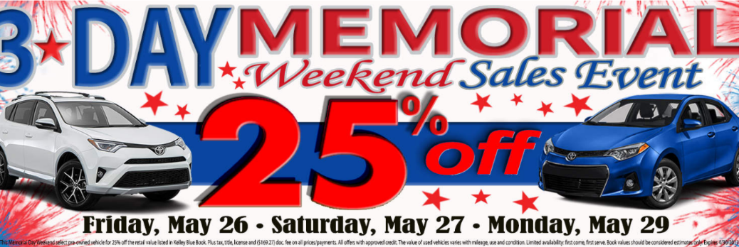 Arlington Toyota memorial weekend sale