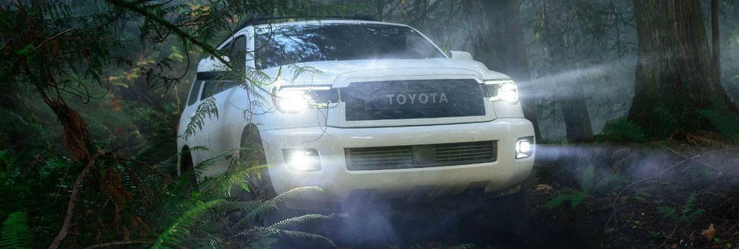 2020 Toyota Sequoia TRD Pro Exterior Passenger Side Front Angle in Woods