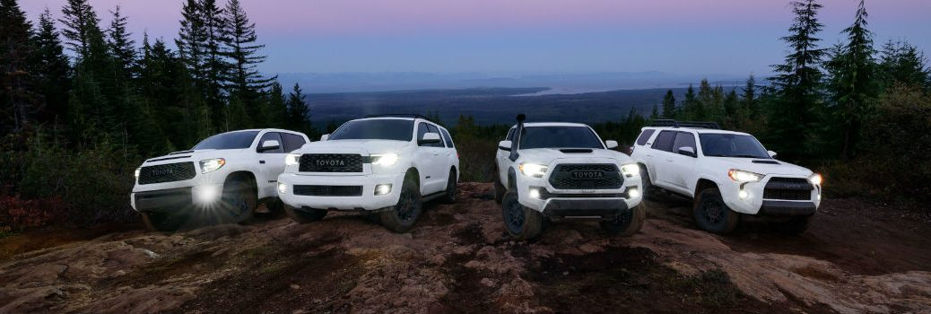 2020 Toyota Racing Development Family in White Exterior Fronts on a Hill at Night