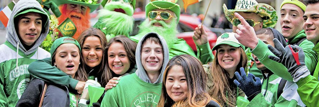 People Celebrating St. Patricks Day in Green Clothes