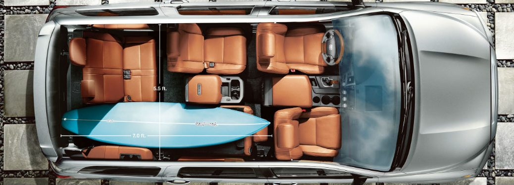 2020 Toyota Sequoia Aerial Cutaway Example of Interior Cabin with Surfboard
