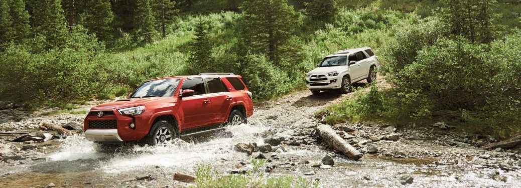 A red 2019 Toyota 4Runner driving through a shallow river with a white 2019 Toyota 4Runner following behind on a forest path