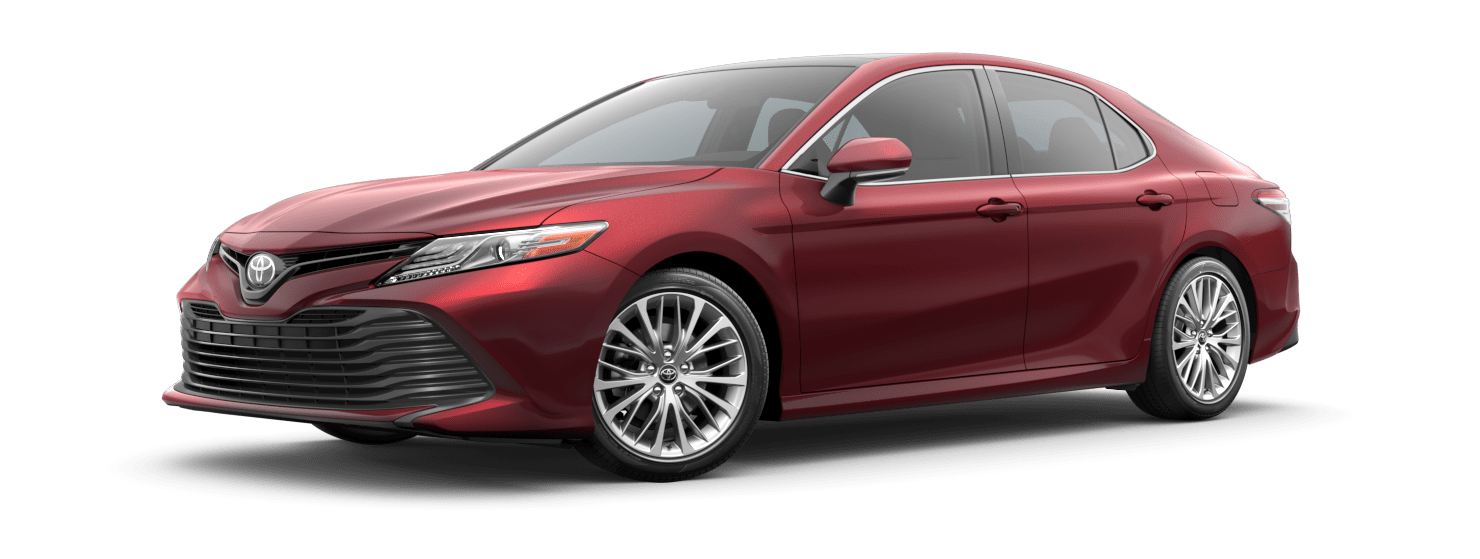 2019 Toyota Camry Exterior Driver Side Front Profile in Ruby Flare Pearl