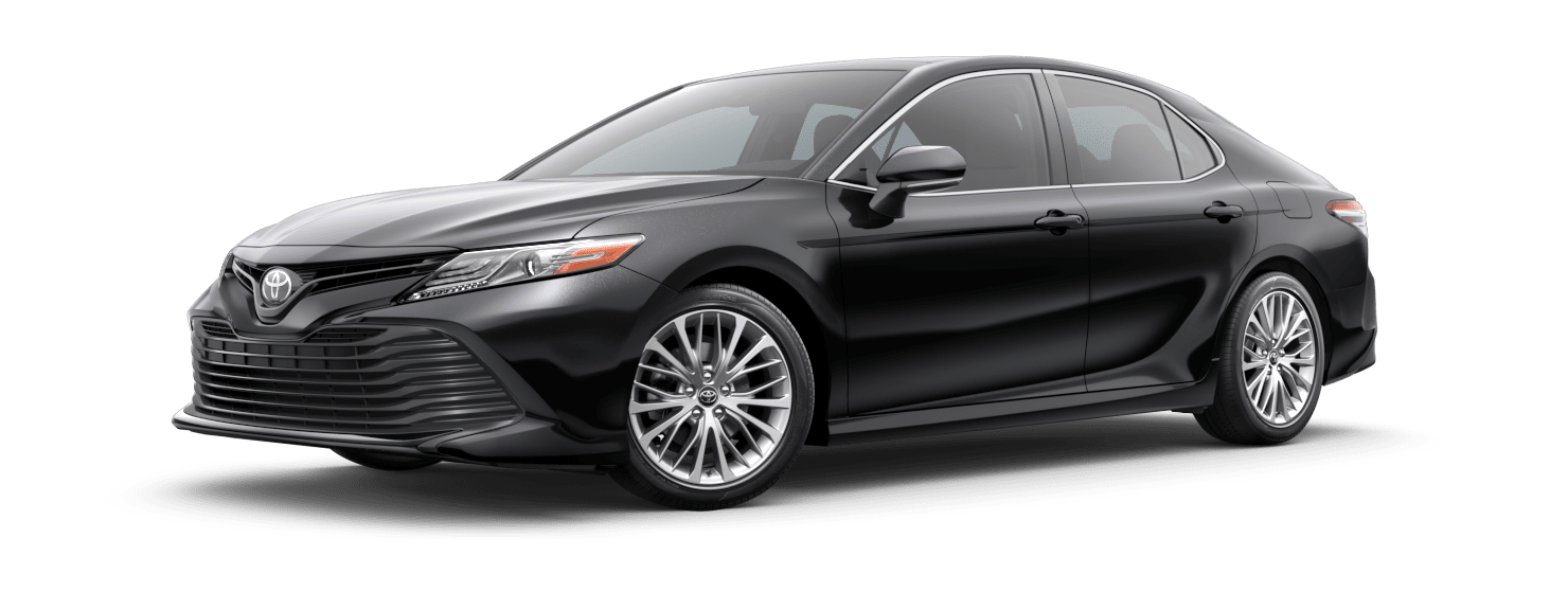 2019 Toyota Camry Exterior Driver Side Front Profile in Midnight Black Metallic