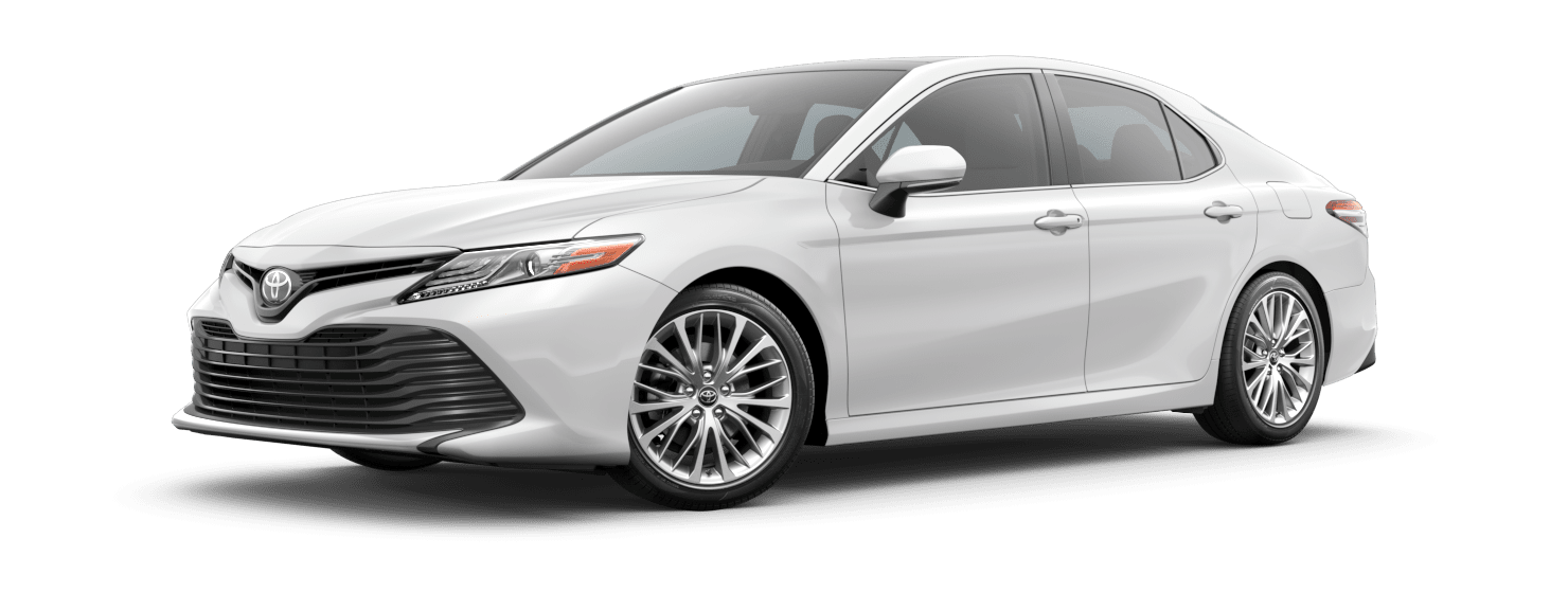 2019 Toyota Camry Exterior Driver Side Front Profile in Super White