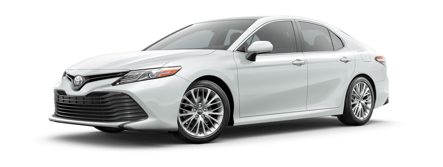2019 Toyota Camry Exterior Driver Side Front Profile in Wind Chill Pearl