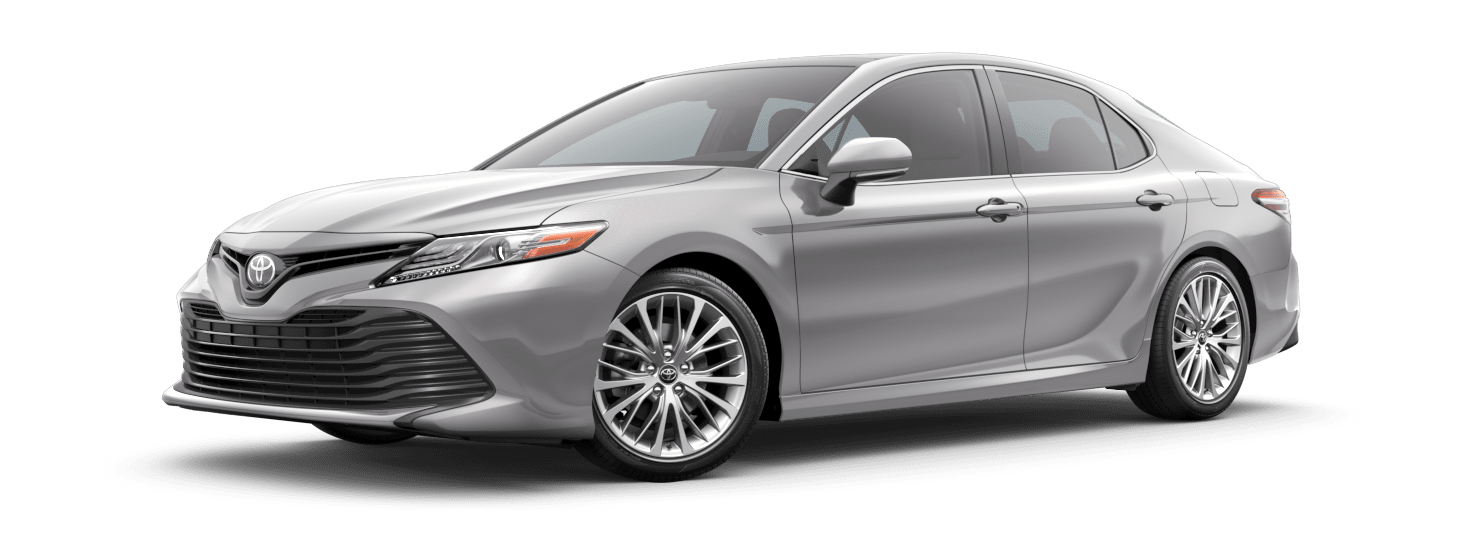2019 Toyota Camry Exterior Driver Side Front Profile in Celestial Silver Metallic