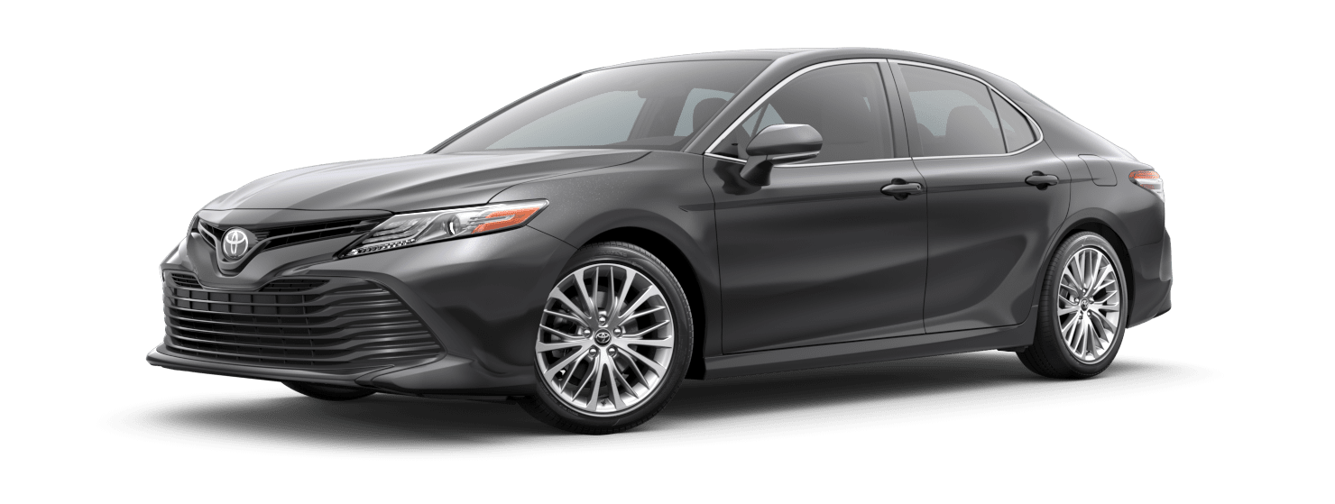 2019 Toyota Camry Exterior Driver Side Front Profile in Predawn Gray Mica