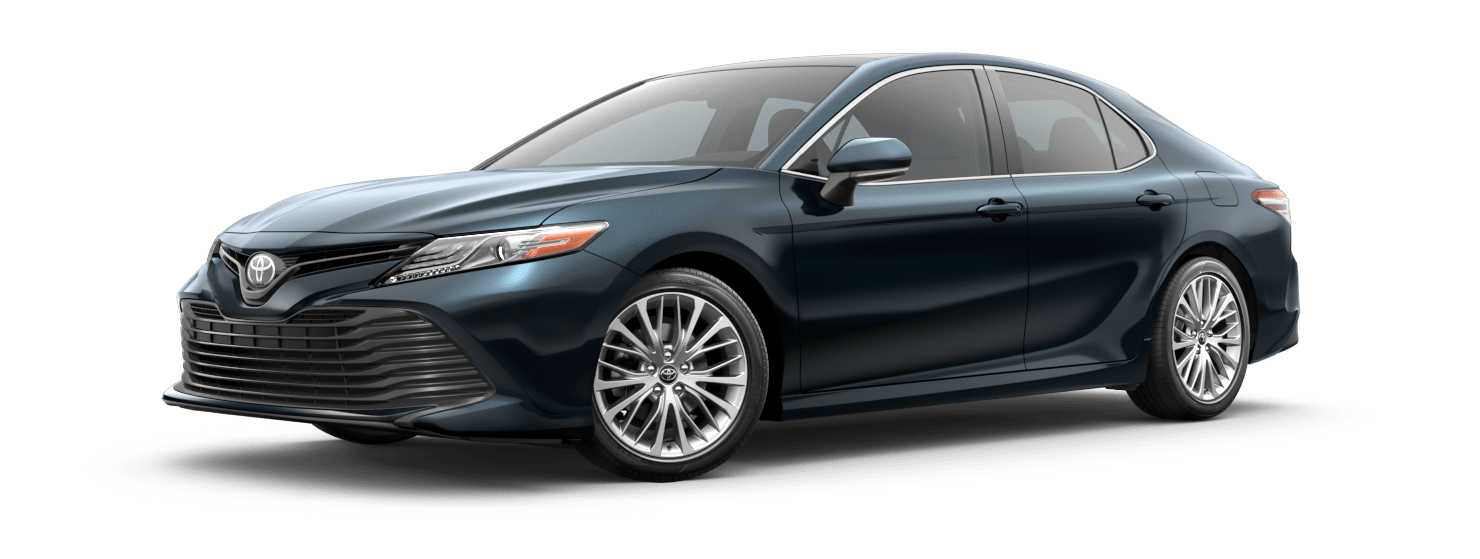 2019 Toyota Camry Exterior Driver Side Front Profile in Galactic Aqua Mica
