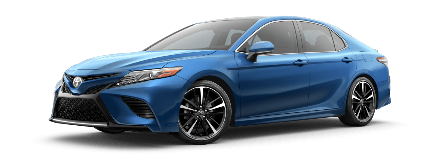 2019 Toyota Camry Exterior Driver Side Front Profile in Blue Streak Metallic