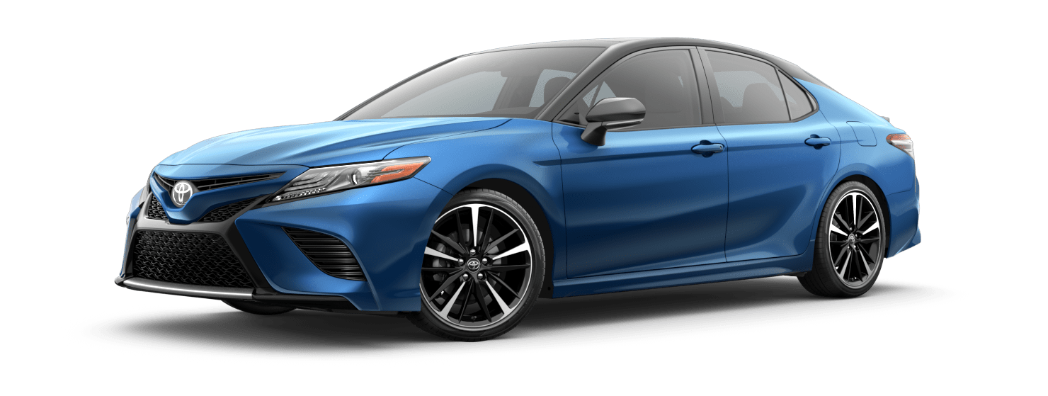 2019 Toyota Camry Exterior Driver Side Front Profile in Blue Streak Metallic with Midnight Black Metallic Roof & Rear Spoiler