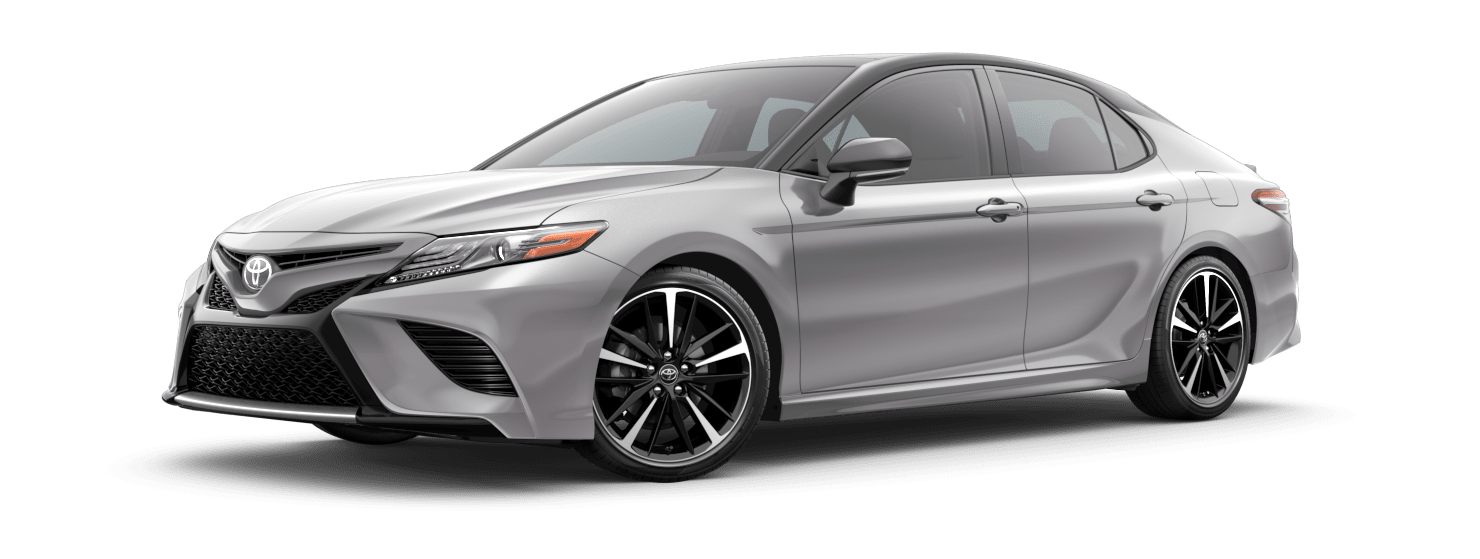 2019 Toyota Camry Exterior Driver Side Front Profile in Celestial Silver Metallic with Midnight Black Metallic Roof & Rear Spoiler