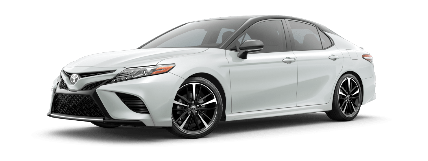 2019 Toyota Camry Exterior Driver Side Front Profile in Wind Chill Pearl with Midnight Black Metallic Roof & Rear Spoiler