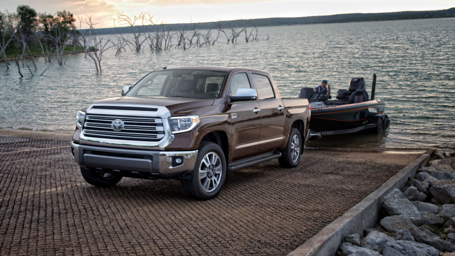 2020 Toyota Tundra Exterior Driver Side Front Profile Towing Boat
