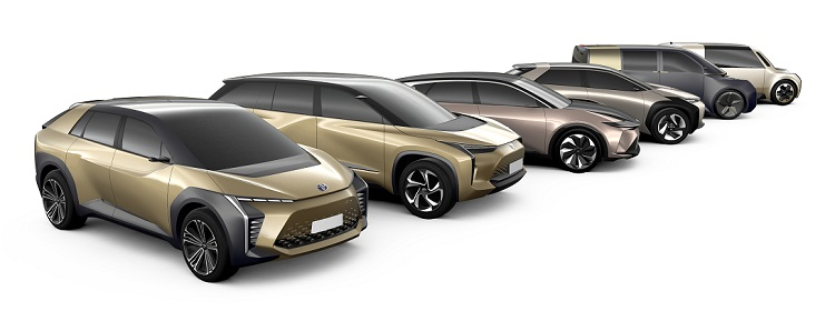 Potential Toyota Electric Passenger Vehicles Exterior Passenger Side Front Profiles