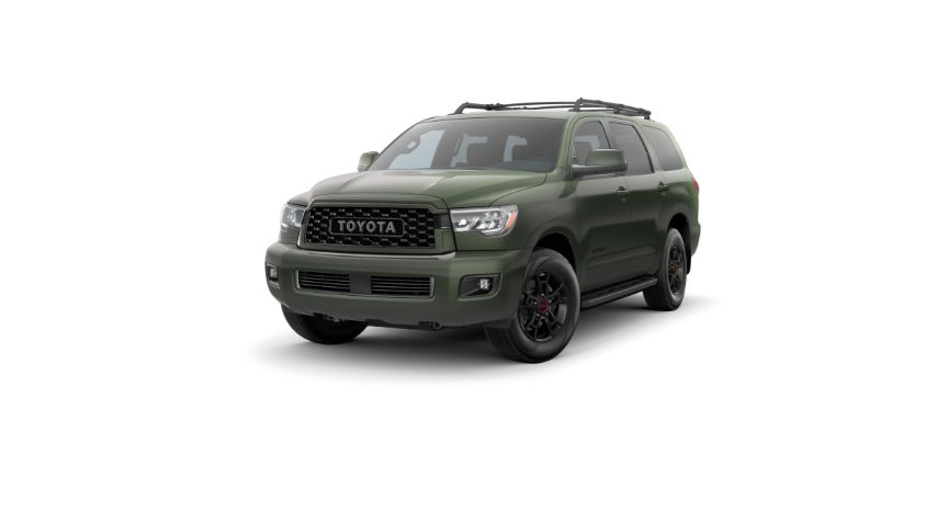 2020 Toyota Sequoia Exterior Driver Side Front Angle Army Green