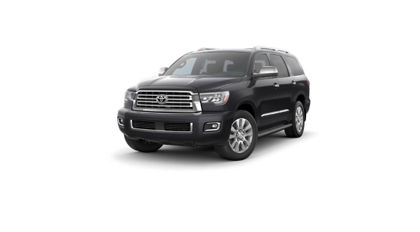 2020 Toyota Sequoia Exterior Driver Side Front Angle Midnight Black Metallic