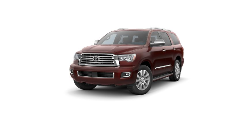 2020 Toyota Sequoia Exterior Driver Side Front Angle Sizzling Crimson Mica