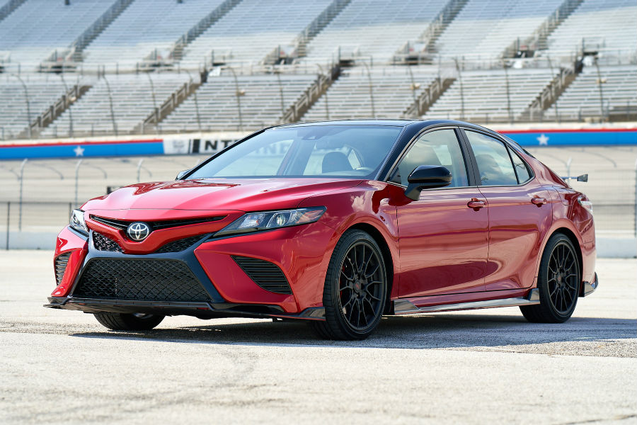 2020 Toyota Camry TRD in Supersonic Red with Midnight Roof Exterior Driver Side Front Profile