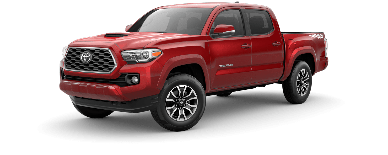 2020 Toyota Tacoma Exterior Driver Side Front Profile in Barcelona Red Metallic