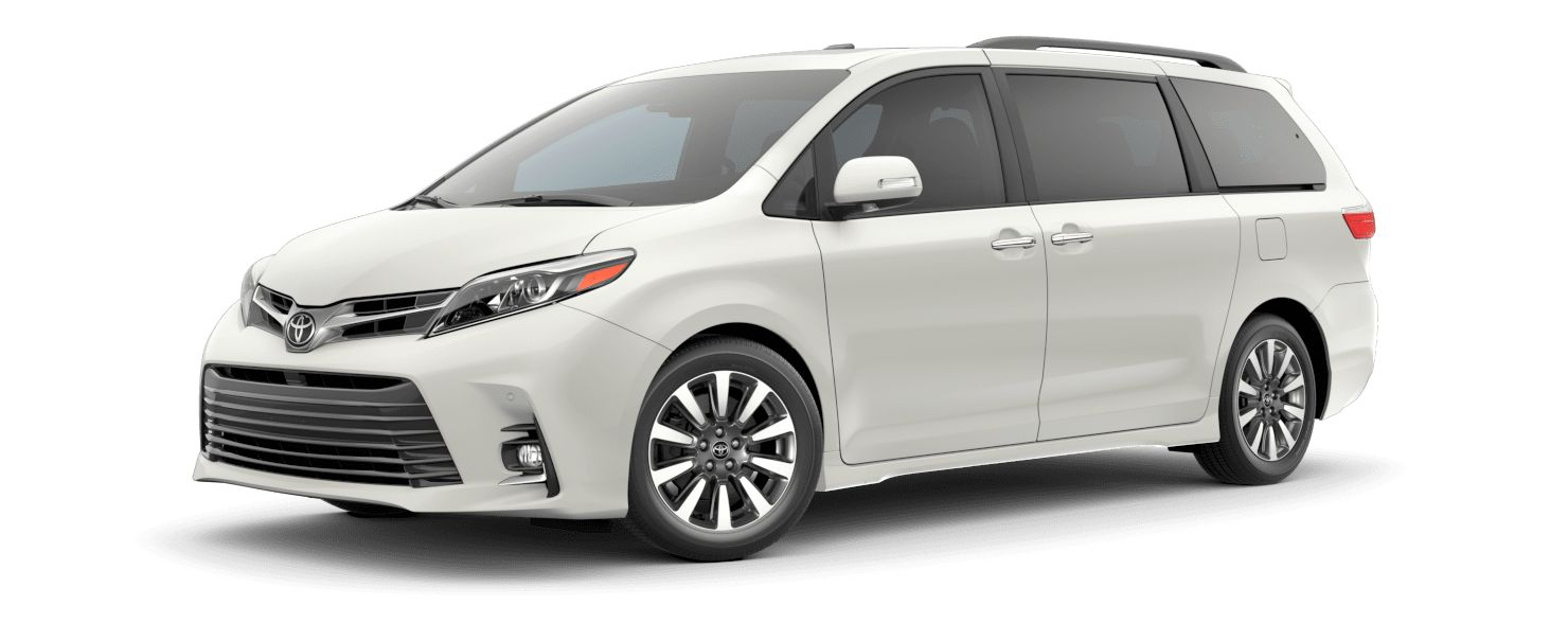 2020 Toyota Sienna Exterior Driver Side Front Profile in Blizzard Pearl