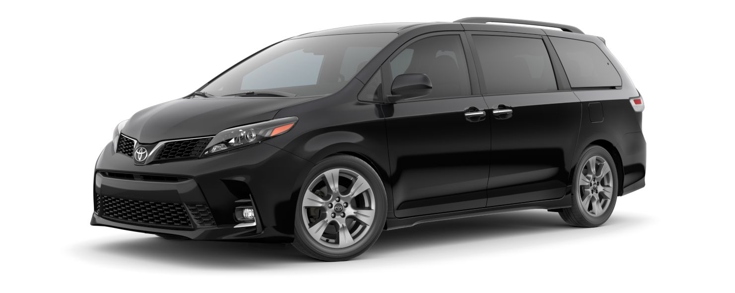 2020 Toyota Sienna Exterior Driver Side Front Profile in Midnight Black Metallic