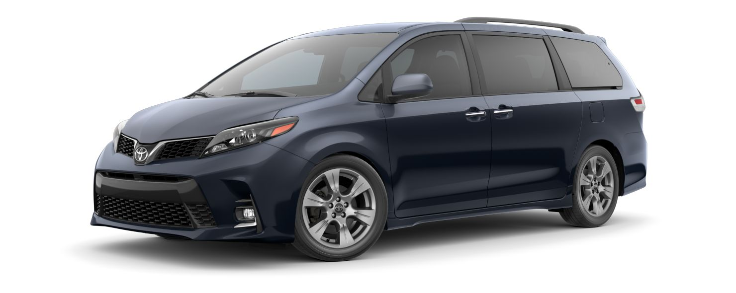 2020 Toyota Sienna Exterior Driver Side Front Profile in Parisian Night Pearl