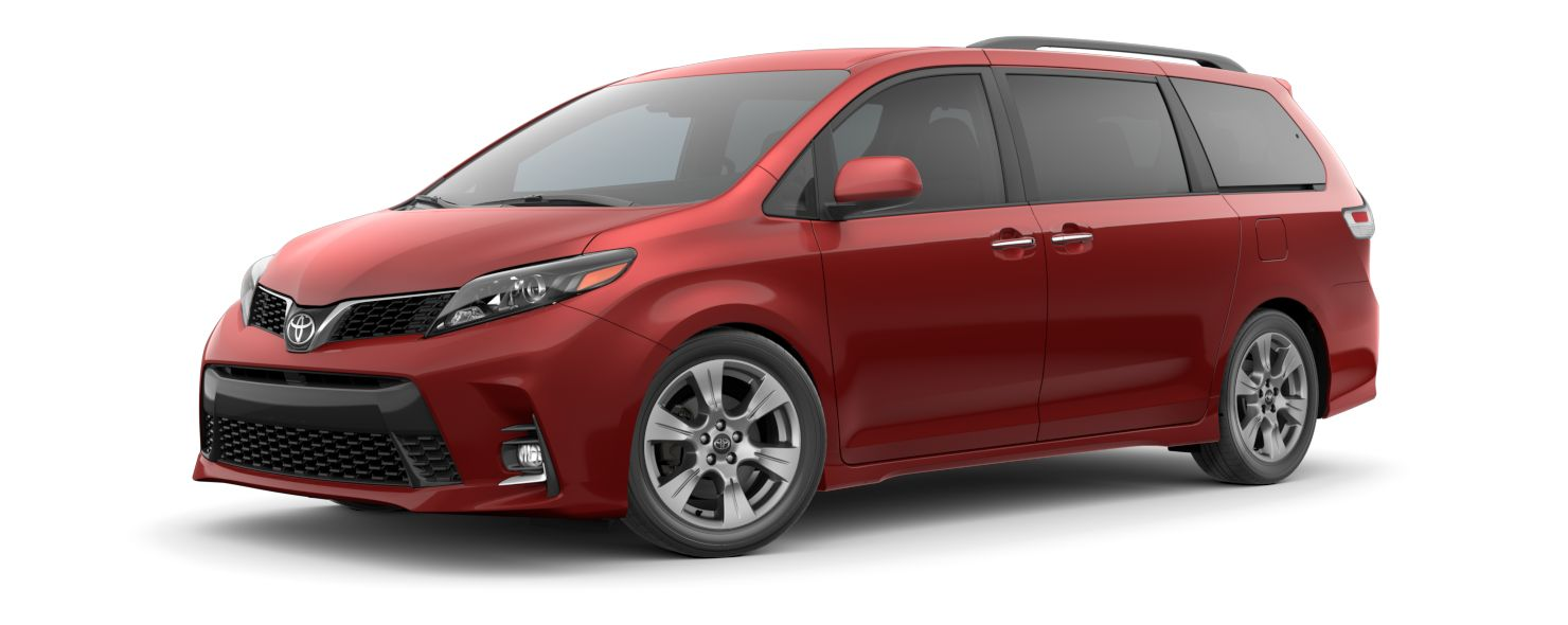 2020 Toyota Sienna Exterior Driver Side Front Profile in Salsa Red Pearl