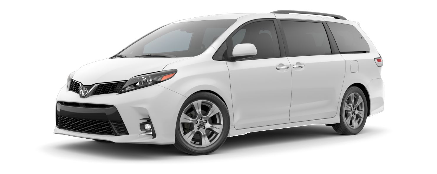 2020 Toyota Sienna Exterior Driver Side Front Profile in Super White