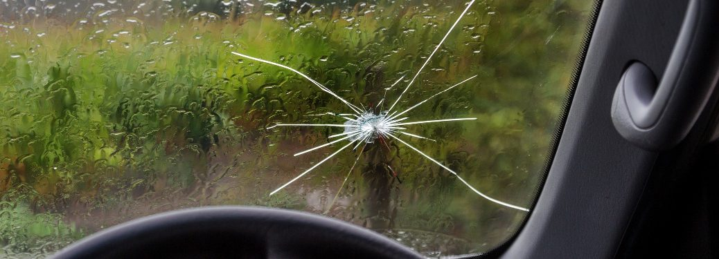 cracked windshield in vehicle
