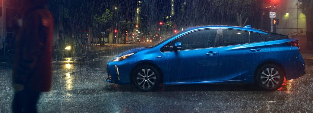 2020 Prius on a rainy street